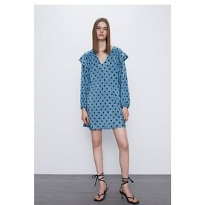Zara polka dot blue dress size M